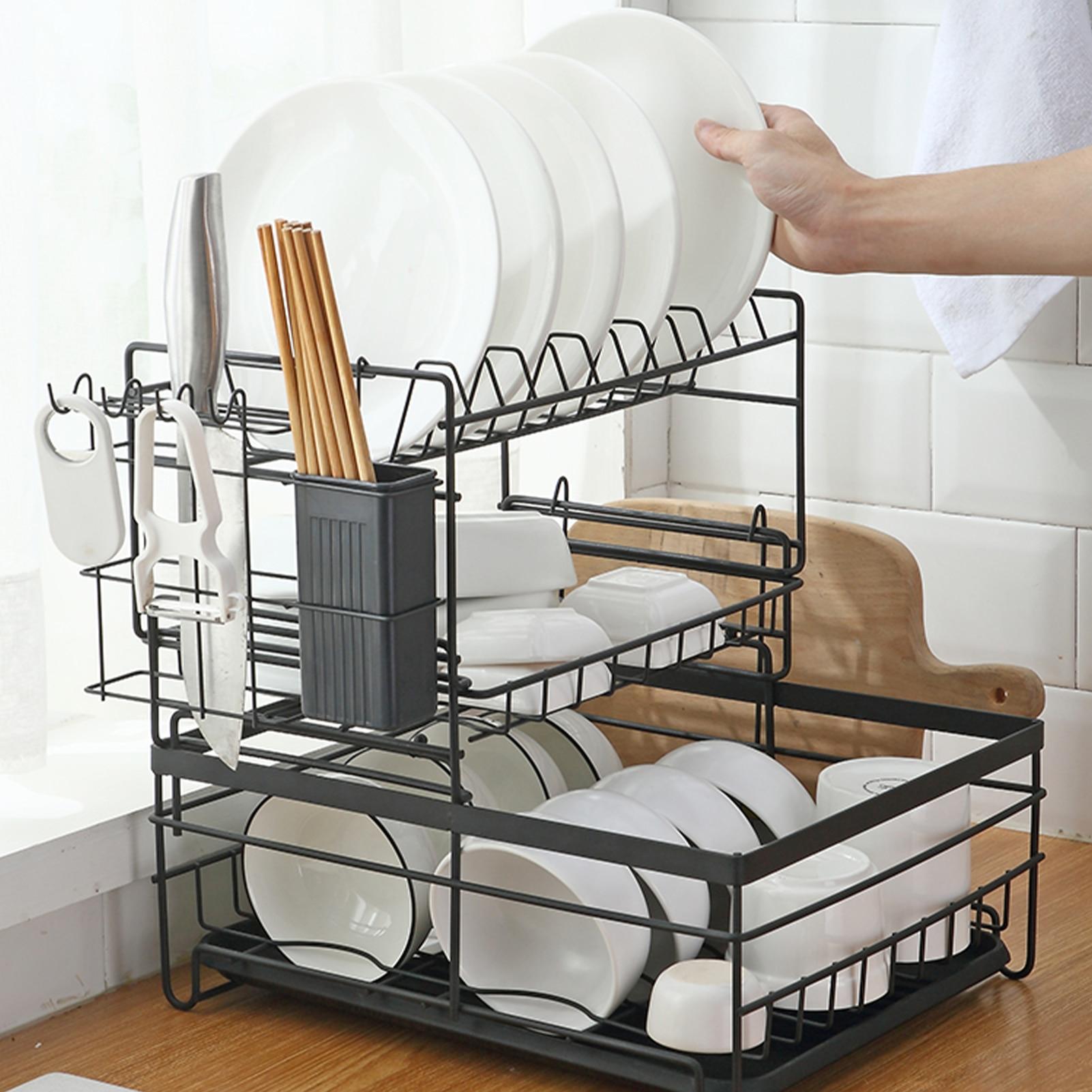 رف لتجفيف الأطباق الكربون الصلب المطبخ تخزين الرف مع لوحة تصفية للإزالة طبق تجفيف حامل أواني مصنوع من خشب الخيزران كونترتوب المنظم