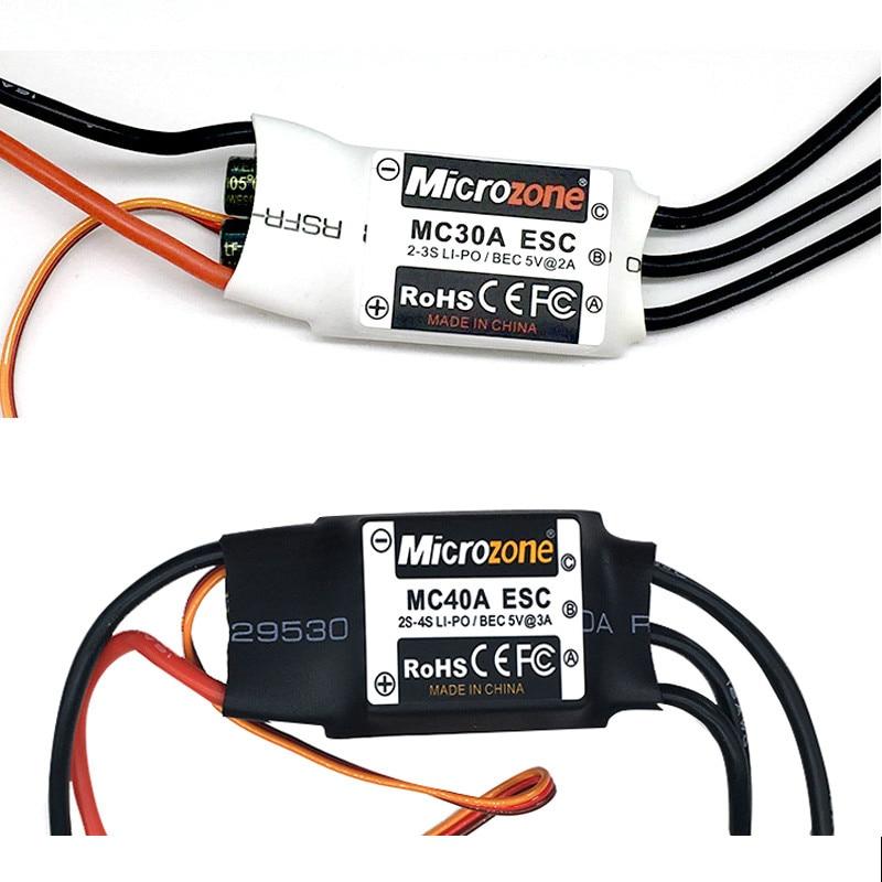 Microzone Rc sin escobillas 30A 40A ESC 2-4S, controlador de velocidad eléctrico con 5V 3A BEC para Rc Drone, avión, multicóptero helicóptero