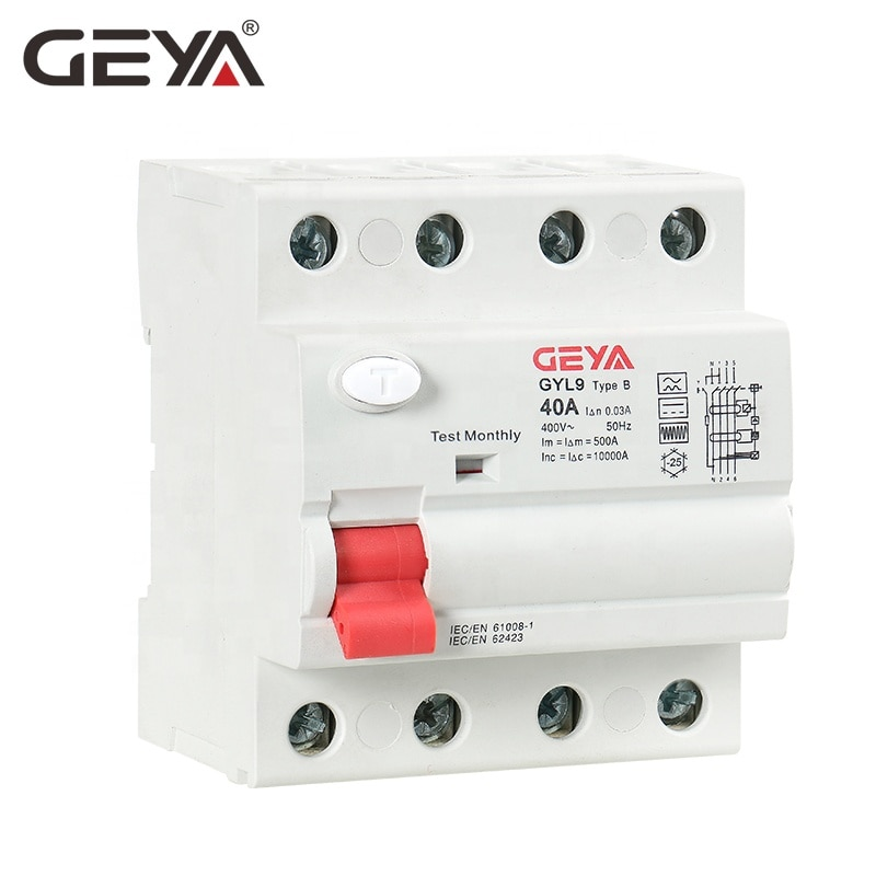 saipwell hot sale ip44 electrical outdoor socket 4p 63a sp 1241 2019 NEW GEYA Type B RCCB 63A 4 Pole ELCB Earth Leakage Circuit Breaker DC RCD 4P 40A 63A 30mA