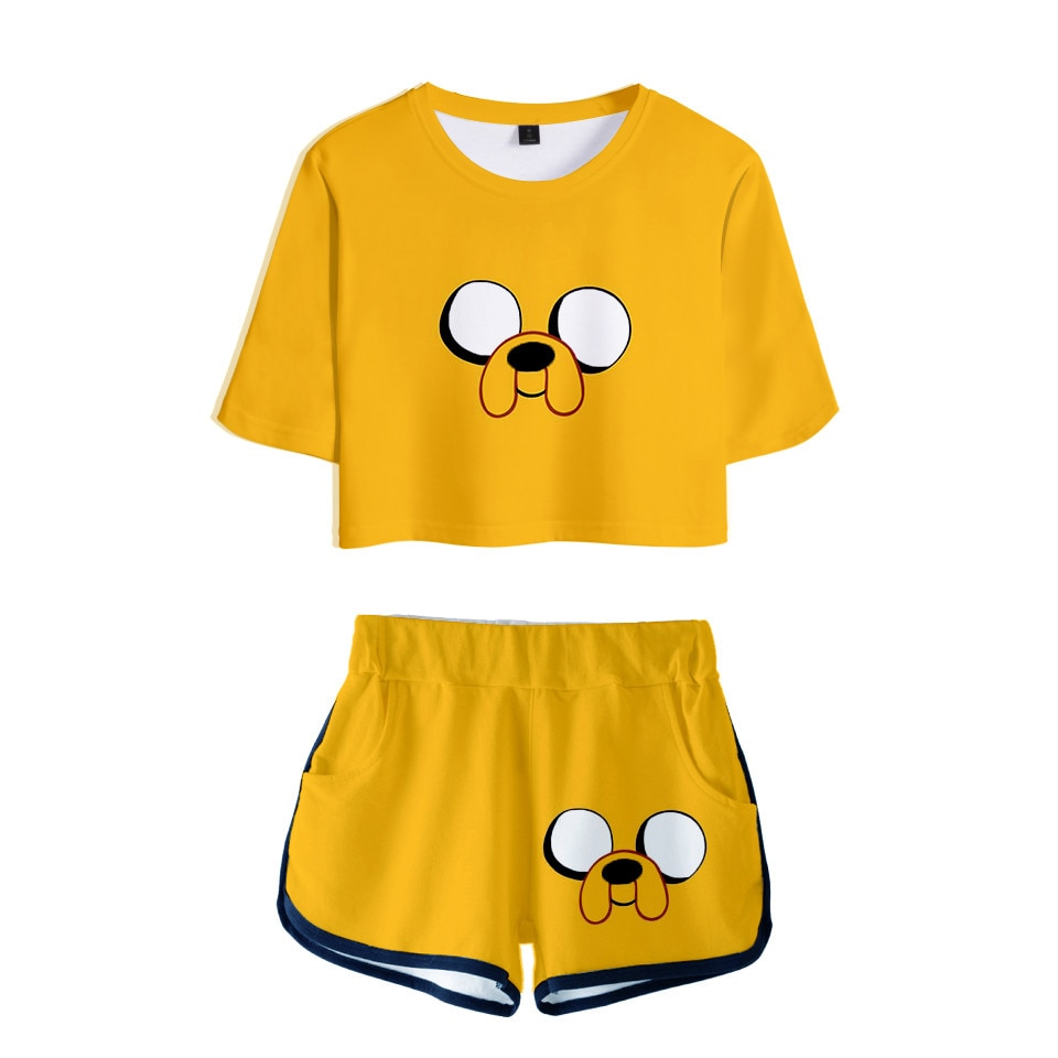 Pajamas Adventure Time T shirt Crop Top Shorts Set Finn Jake Cosplay Costume Fuuny Kawaii T-shirt Beach Jogger Tracksuit Bedding