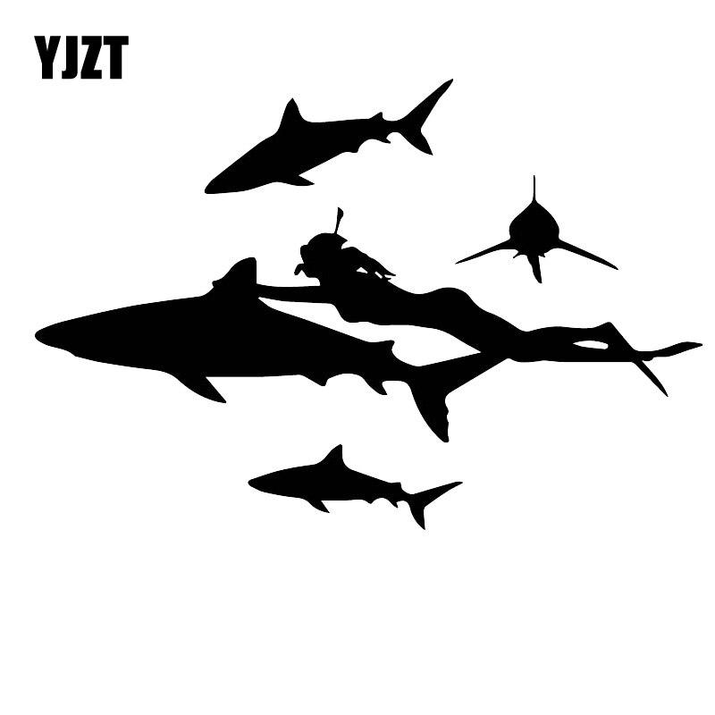 YJZT 13CM * 19,2 CM Adventure buceo peligroso tiburón coche personalidad pegatina caliente negro/plata c30-0540
