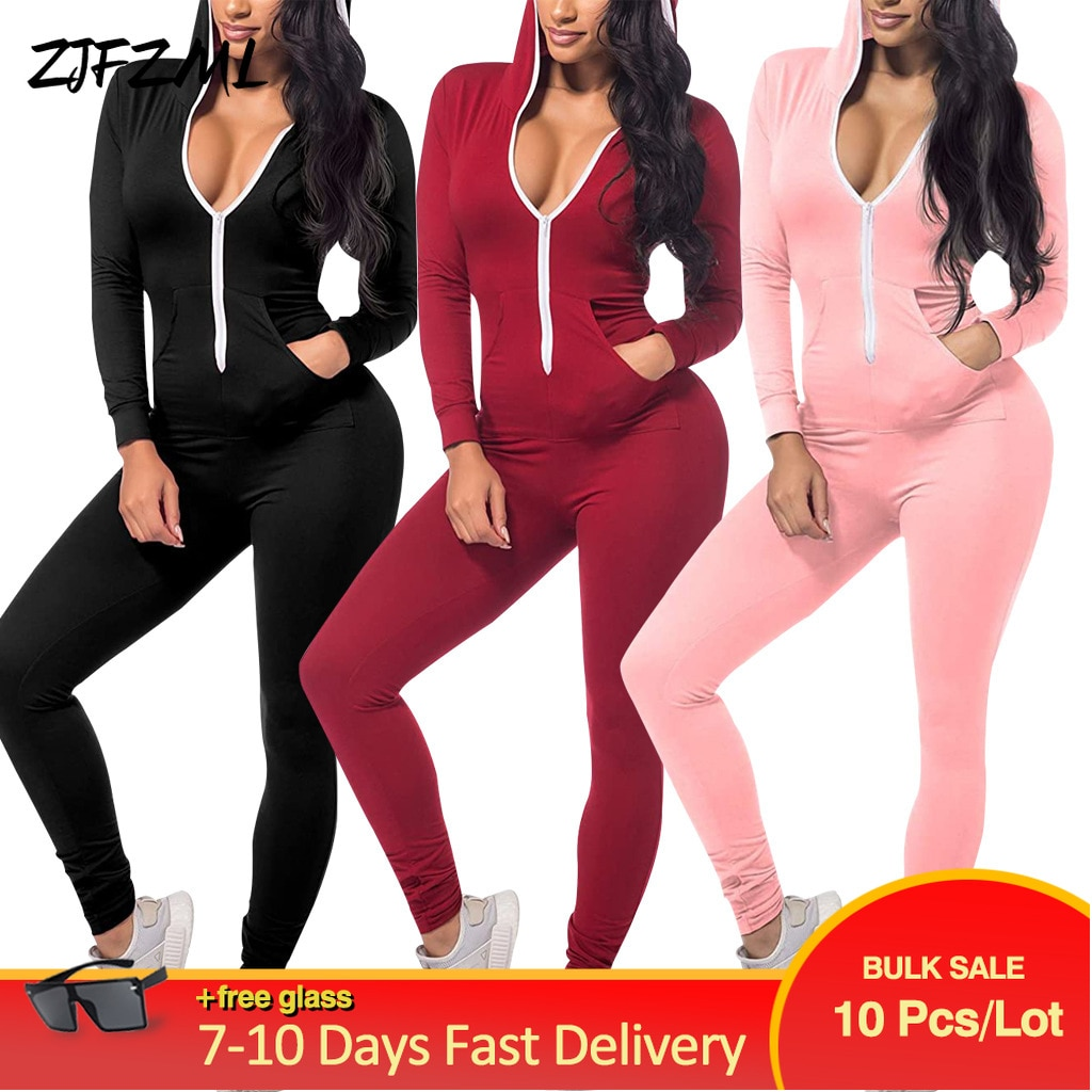 Bulk Items Wholesale Lots Solid Women's Long Jumpsuit Simple Full Sleeve Zipper Hooded Romper Sexy Mujer Workout Sport Catsuit