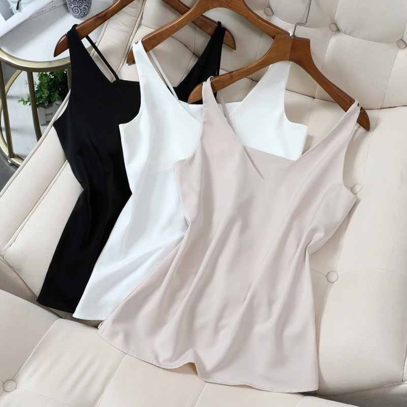 Spaghetti Strap Top Women Halter V Neck Basic White Cami Sleeveless Satin Silk Tank Tops WomenS Summer Camisole Plus Size 5XL