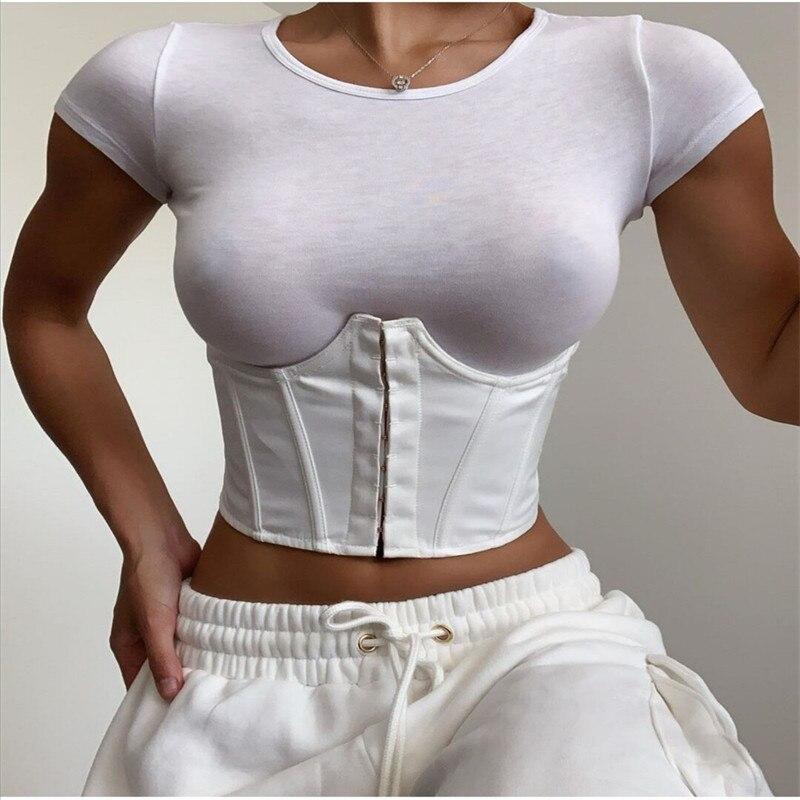 2020 Women's Corset Waist Belt Solid Color Black White Sexy Wide Elastic Tie Bodycon Waspie Belt