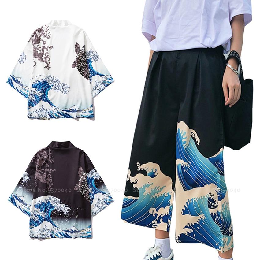 Hombres Mujeres parejas Harajuku japonés Kimono batas Yukata Haori abrigos chino Hanfu Cardigan ukiyo-e pantalones bombachos con pernera ancha Pantalones