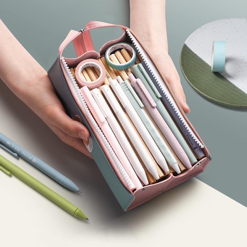Чехол для карандаша, кожаный чехол для карандаша, милые товары для школы, школьные материалы, популярные корейские канцелярские товары, 2020, ...
