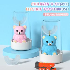 Cartoon Bear Children Electric Toothbrush 360 Degree U Sonic Electric Toothbrush Kids Silicone Automatic Ultrasonic Tooth Brush