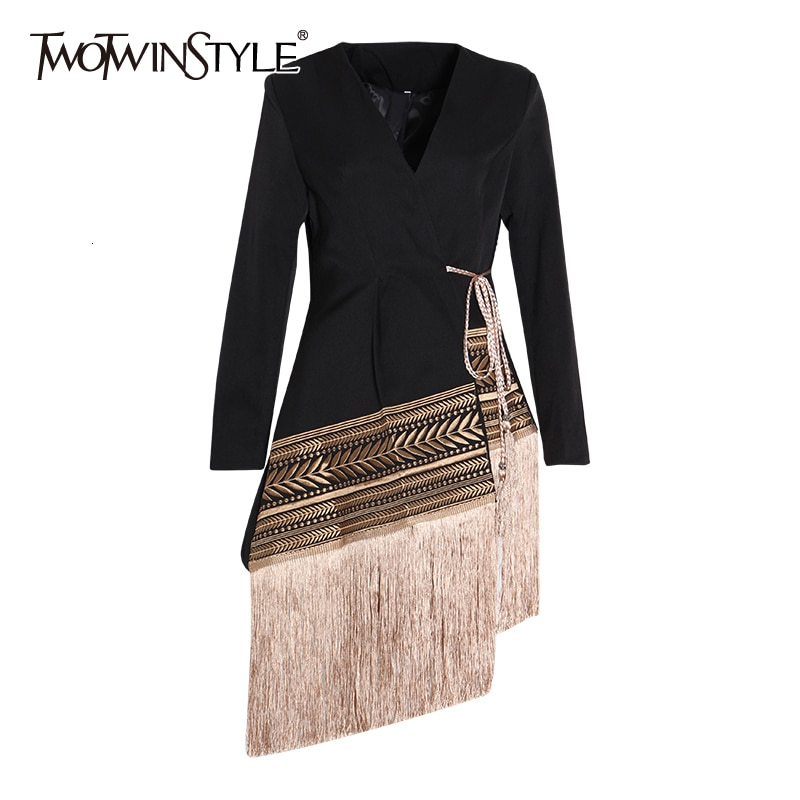 TWOTWINSTYLE Loose Fit Spliced Contrast Color Tassel Belt Jacket New V-neck Long Sleeve Women Coat Fashion Autumn Winter 2020