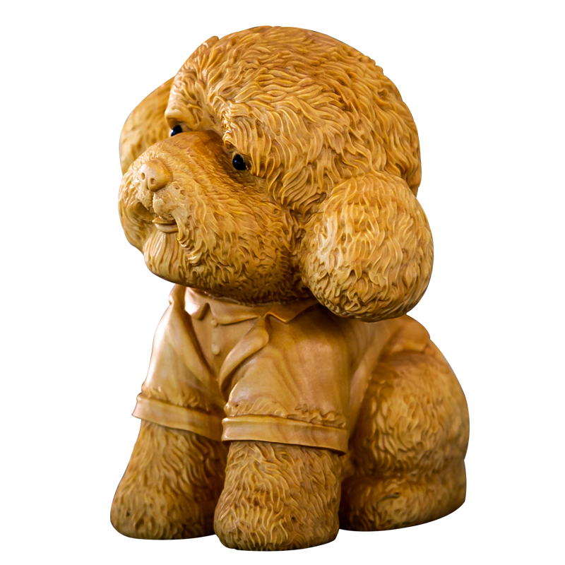 Woodcarving animal lobular boxwood carving hand piece cute pet Teddy home accessories car ornaments