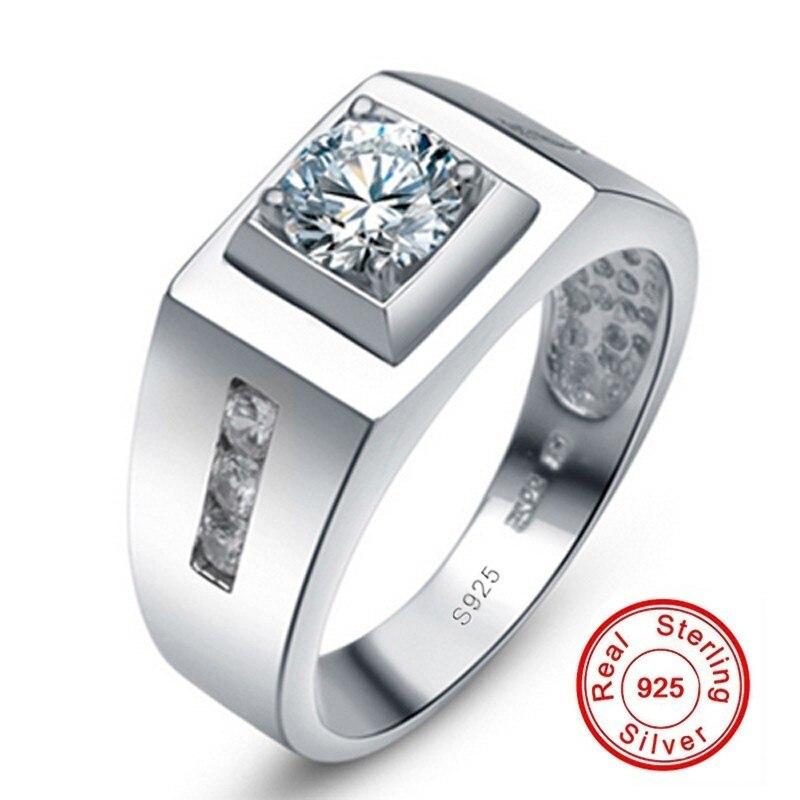 100% Plata de Ley 925 de lujo 6mm 1Ct CZ anillos de compromiso para amantes anillos de boda para hombres Diamante de platino simulado Tamaño 7-11