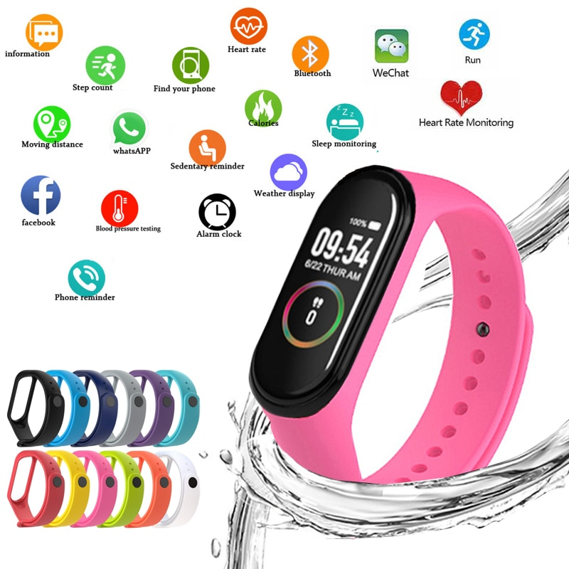 M4 Smart Watchs Sport Wristbands For Women LED Screen Fitness Traker Bluetooth Waterproof Lady Watch