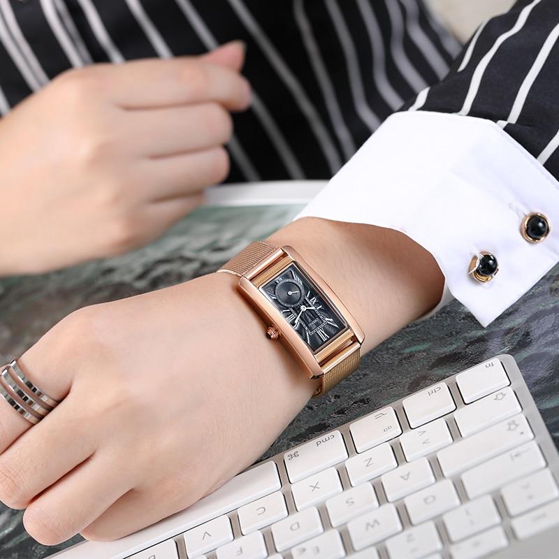 CHENXI Ladies Watches Top Brand Luxury Slim Mesh Steel Quartz Watch For Women Rectangle Fashion Dress Women Watch Montre Femme enlarge