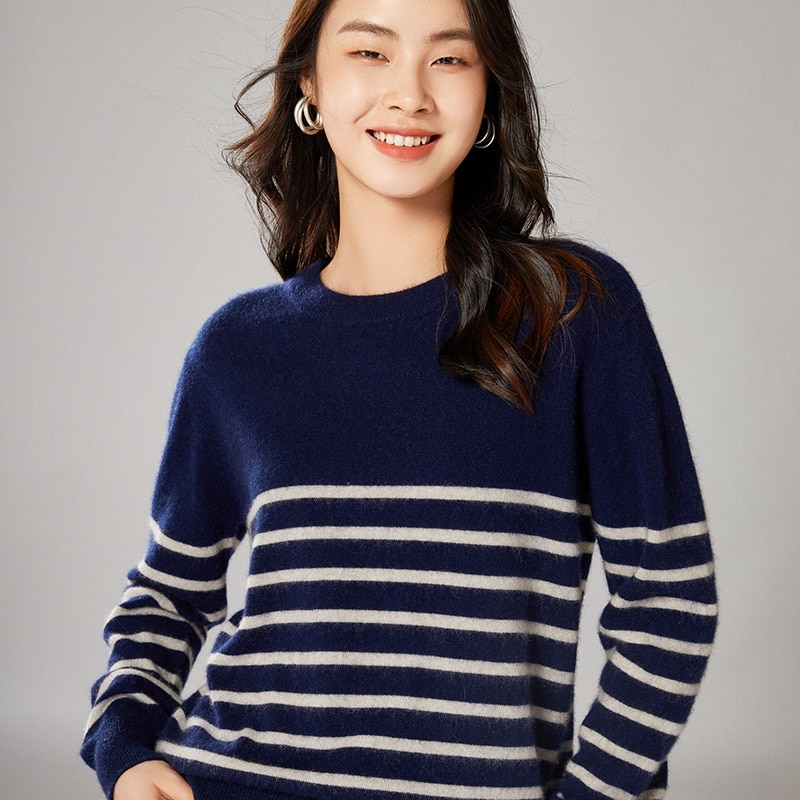 adohon 2021 woman winter 100% Cashmere sweaters knitted Pullovers jumper Warm Female O-neck blouse blue long sleeve clothing enlarge