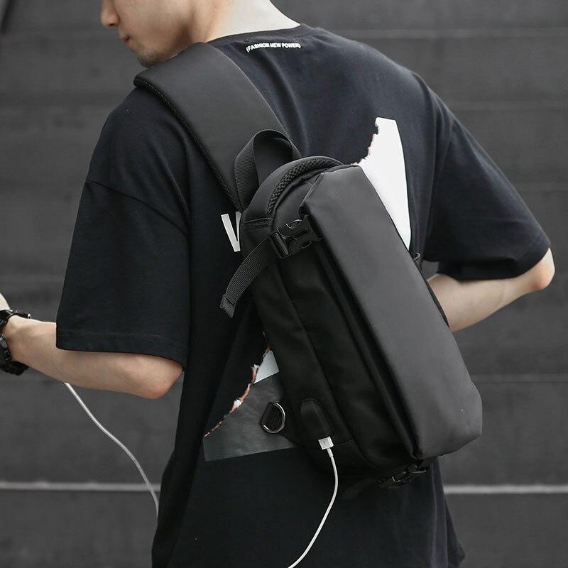 Men Crossbody  Sling Bag Boy Chest Pack USB Interface Waterproof Oxford Bags Fashion