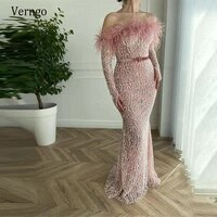 verngo luxury blush pink lace mermaid evening dresses long sleeves off the shoulder floor length elegant prom gown custom made