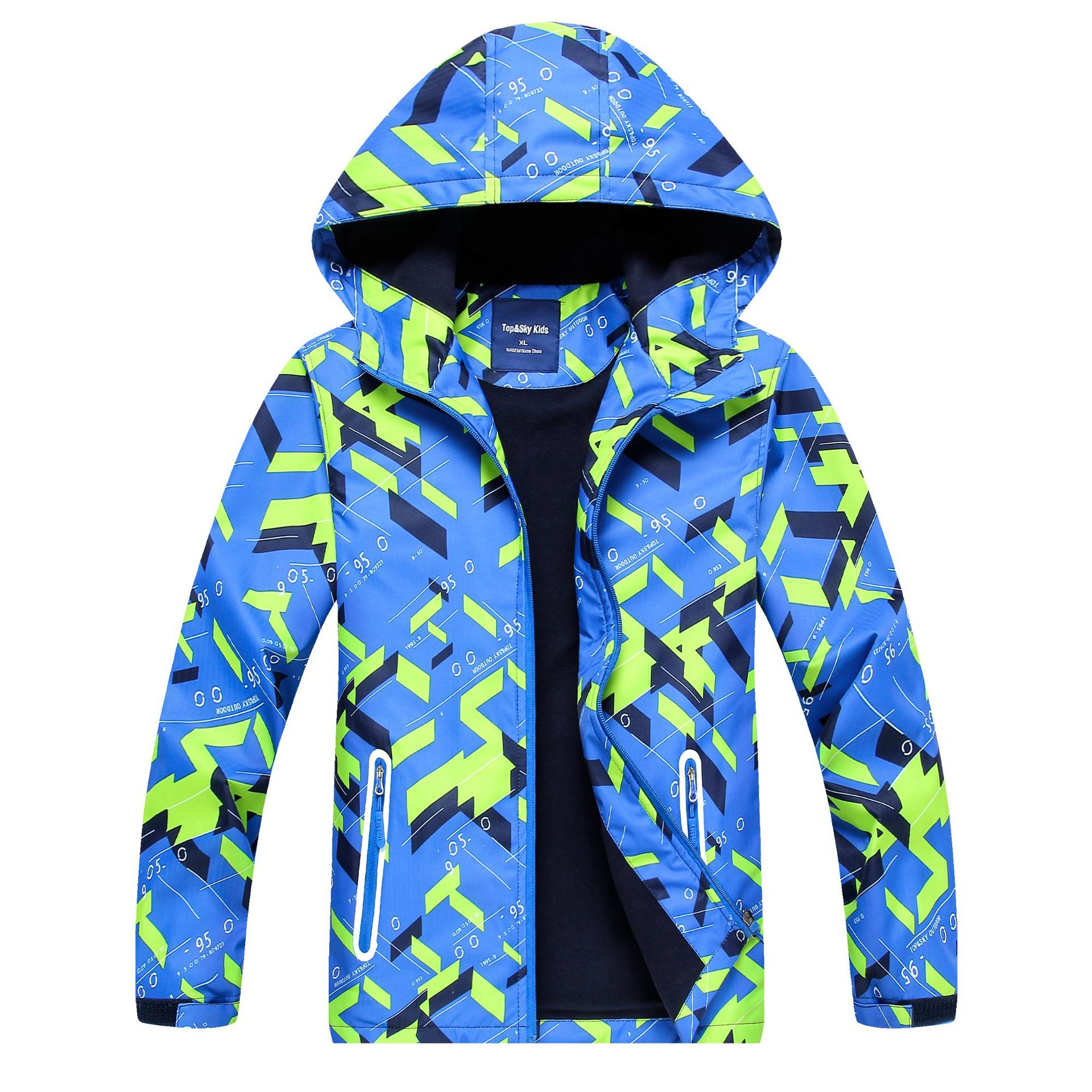 Children Reflective WaterProof Jacket For Boy Teenage Kids Outerwear Spring Autumn Warm Coat With Fleece Hoodies T35