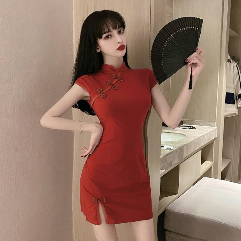 Женская обувь в китайском стиле Стиль, Ретро стиль, Cheongsam, красного и розового цвета Qipao платье ночной клуб бар танец сексуальное облегающее ...
