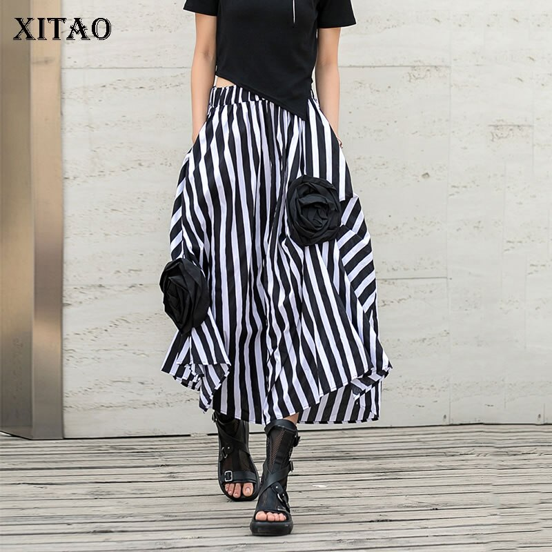 XITAO New Stripe Skirt Three-dimensional Flowers Decoration Irregular Splicing Loose Fashion Simplicity All-match Women ZXR1515