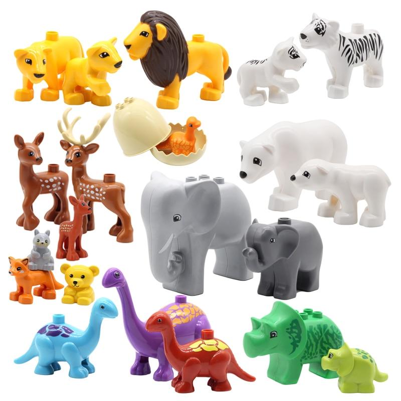 Zoo Animals Series Set Big Size Building Blocks Assemble Accessories Cute Birds Beasts Elephant Tiger Bricks Education Toys Kids
