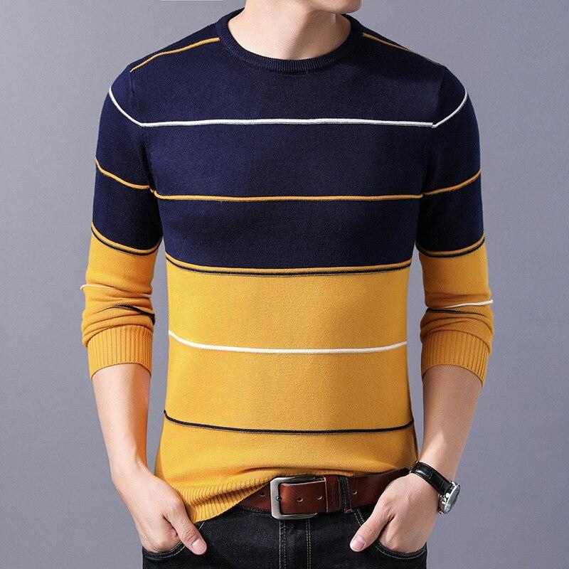 2020 повседневный мужской свитер с О-образным вырезом Полосатый Slim Fit Knittwear осень-зима мужские свитера пуловеры пуловер тянуть Homme M-3XL