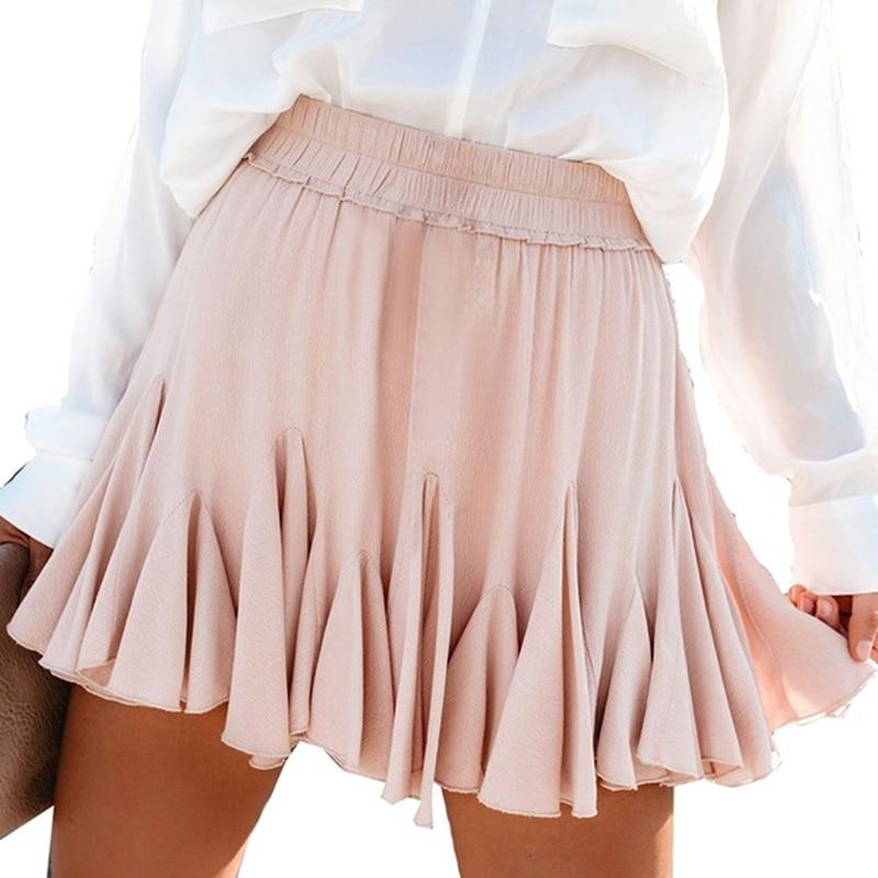 Blanco negro gasa verano Shorts falda elegante mujeres 2020 moda coreana alta cintura Tutu plisado Mini Sun School falda femenina