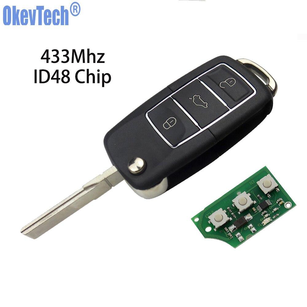 Okeytech remoto chave do carro para v w golf passat b6 t5 polo volkswagen 3 botão 433 mhz id48 chip flip dobrável hu66 sem corte lâmina em branco