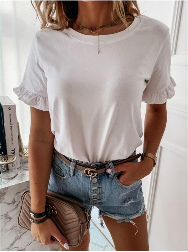 Sommer Top Büro Dame T Shirt Femme Kurzarm Casual Plain Frauen OL T Hemd Rüschen Lose Damen t-shirt Dames streetwear