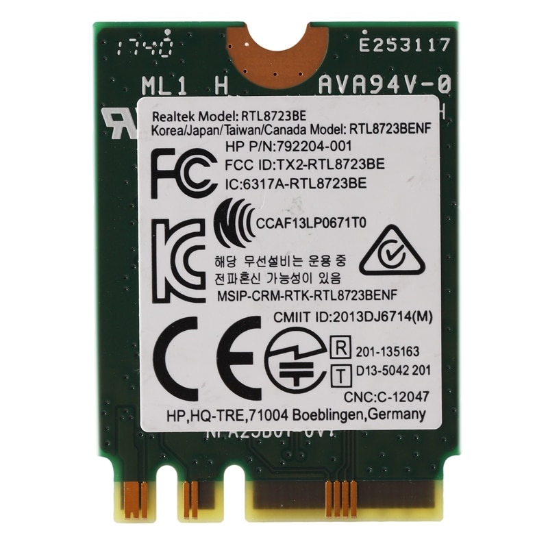 Adaptador inalámbrico para Realtek RTL8723BE 802.11N tarjeta WiFi Bluetooth 4,0 tarjeta NGFF SPS 843338-001 300Mbps
