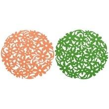 2 pièces coupe ronde fleur feutre napperons cuisine Table à manger tasse tapis coussin Orange et vert