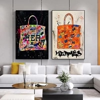 modern fashion bags abstract graffiti art posters and prints pop art wall pictures for living room home decoration