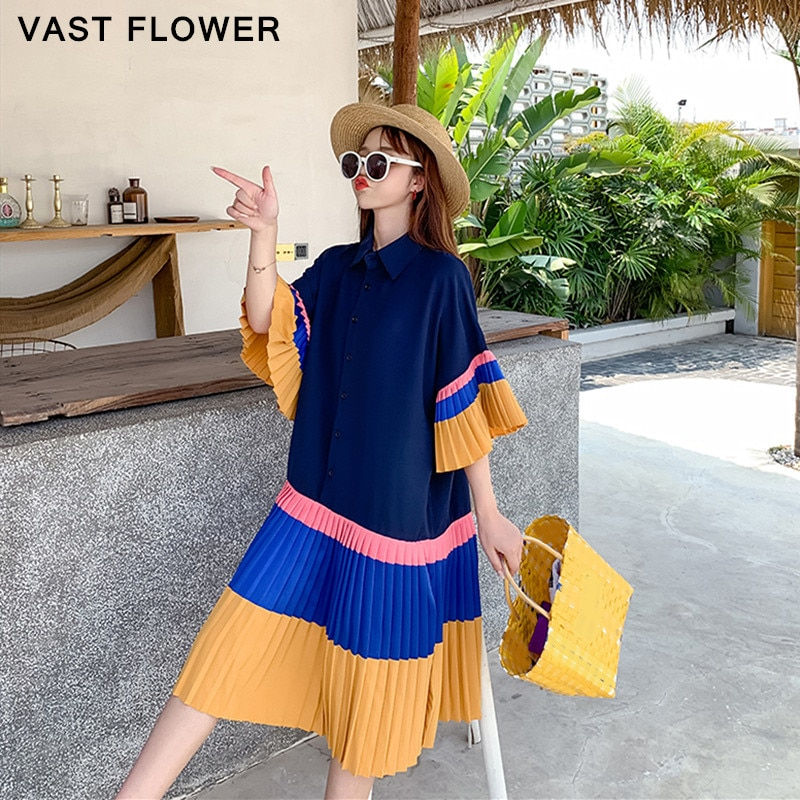 Pleated Hit Color Summer Shirt Dress Women Korean Style Plus Size Short Sleeve Casual Loose Fashion Elegant Clothes Dresses 2020