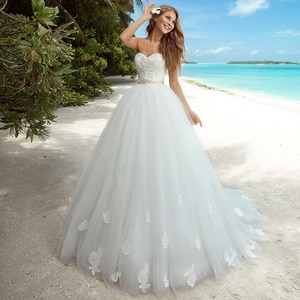 2021 New Appliqued A-Line Wedding Dress Sweetheart Backless Sleeveless Beading Crystal Floor Length Bridal Gowns Graceful White