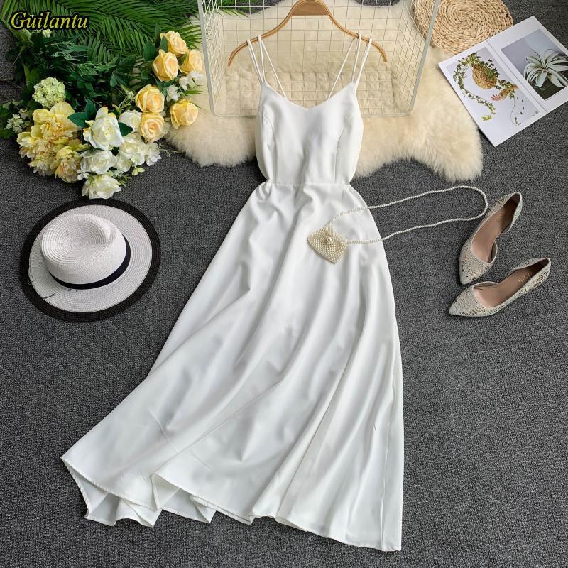 Smlinan été Vintage plage longue robe femmes sans manches Spaghetti sangle dos nu Sexy Club blanc robe élégante robes de soirée