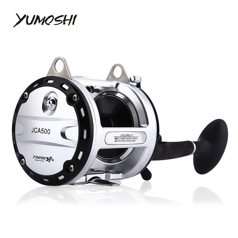 YUMOSHI 12 + 1 rodamientos de alta velocidad fundido tambor carrete de pesca señuelo equipo para pesca de arrastre barco de agua salada manos redondo carrete JCA