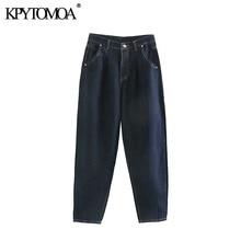 Vintage Stylish Pockets High Waist Darts Jeans Women 2020 Fashion Zipper Fly Denim Harem Pants Female Ankle Trousers Jean Femme