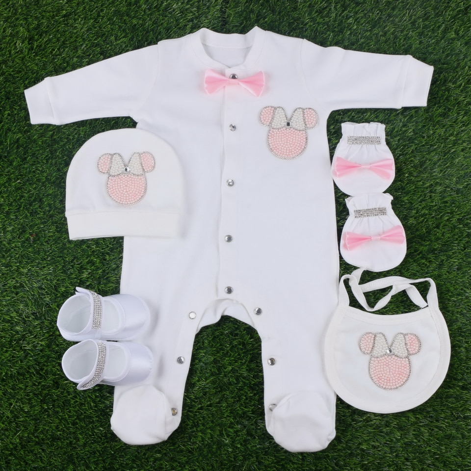 high quality 56 cm length cotton solid colorful beaded cartoon style 5 pcs set girl boy baby newborn cute footies clothes set
