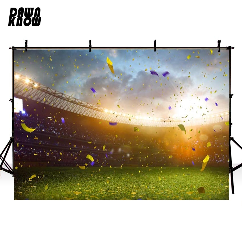 DAWNKNOW Football Field Vinyl Photography Background For Baby Lawn New Fabric Polyester Backdrop For Wedding Photo Studio G679