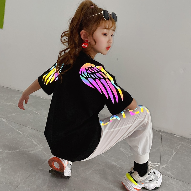 Novelty Girls Clothes Reflective Colorful Wings T-shirt Loose Girls Boys Tops Summer Sweatshirt Hip hop Children Tees Streetwear
