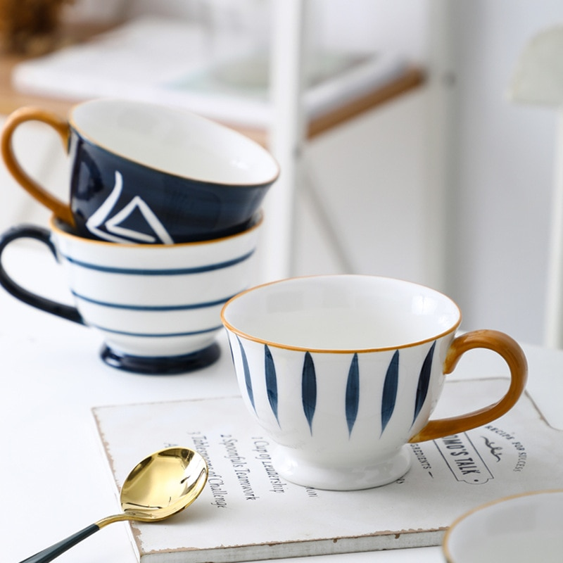 كوب الإفطار الياباني رسمت باليد ، كوب دقيق الشوفان سعة كبيرة ، كوب حليب مقاوم للحرارة الإبداعية ، فنجان القهوة السيراميك تحت الصقيل