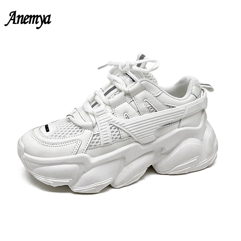 Women's Vulcanized Shoes Lace Up Ladies Platform Casual Comfort Shoes Woman Chunky Sneakers Spring Female Footwear Black White