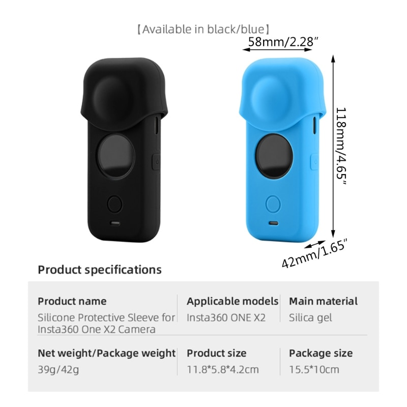 For Insta360- ONE X2 Silicone Protective Lens Cover Panoramic Sports Camera Lens A0NB enlarge