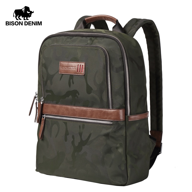 "BISON DENIM Canvas Backpack Male Waterproof Men Bag 15.6"" laptop School bag for Teenager Camouflage Travel Backpack Unisex N2644"
