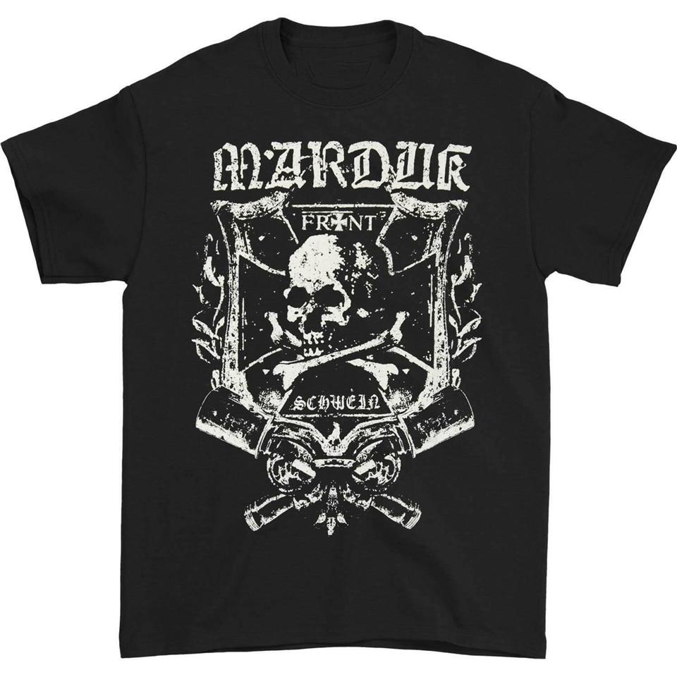 Marduk, camiseta de banda frontal para hombres, camiseta negra elegante personalizada, camiseta