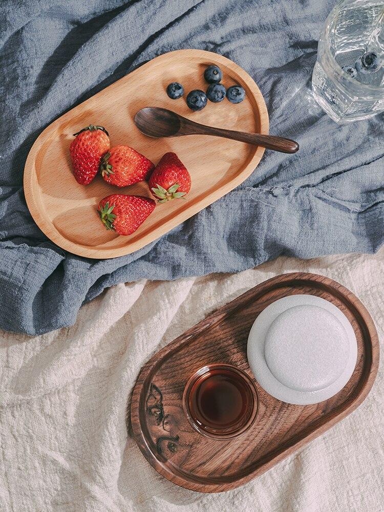 الجوز الأسود/خشب الزان البيضاوي طبق الخبز/الفواكه/الحلويات/طبق للوجبات الخفيفة صينية تخزين الإبداعية قاعدة لأكواب الشاي نزهة أدوات المائدة