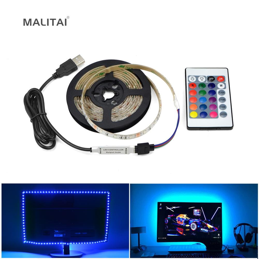 Fuente de alimentación USB de 5V tira de luz LED RGB cinta de cinta LED impermeable 1M 2M 3M 4M 5M PC luz de fondo iluminación de fondo de TV lámpara de decoración
