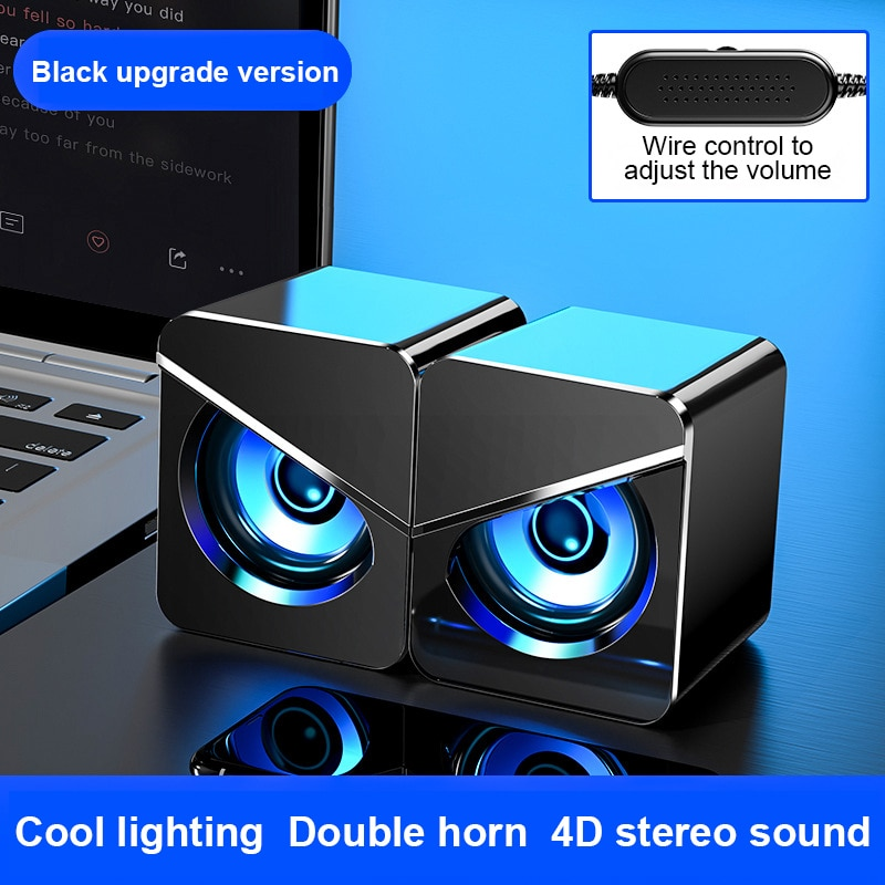USB проводные компьютерные колонки, басовые стерео сабвуферные колонки, цветсветодиодный светильник ка для ПК/ноутбука/Мобильный телефон/MP3/...