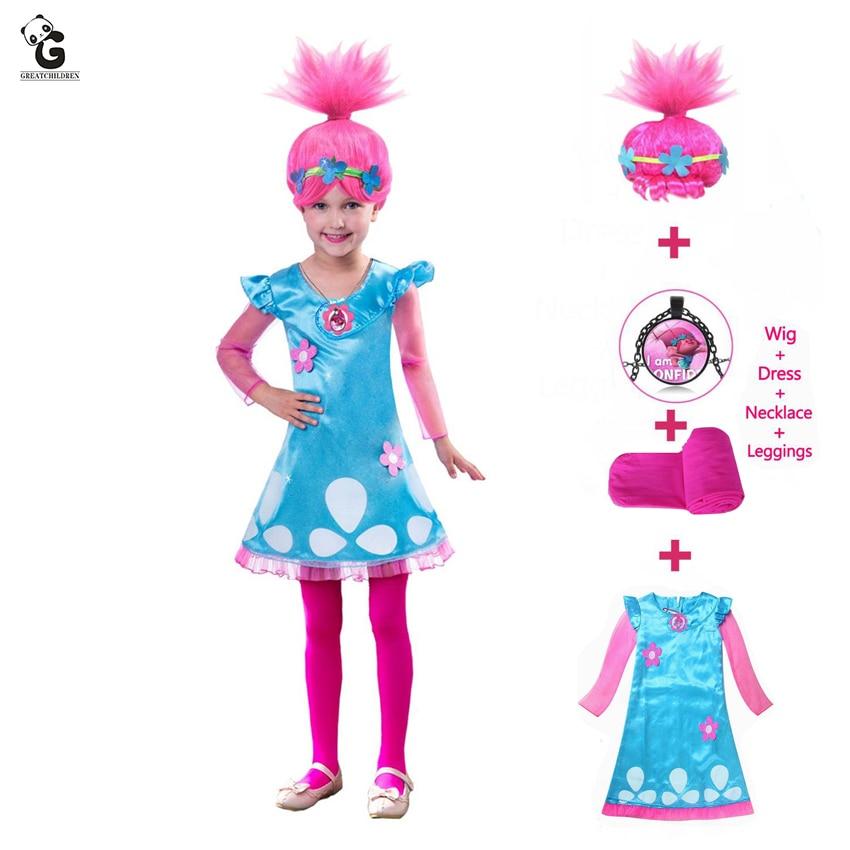 Kids Costumes Girls Dresses Trolls Poppy Costume Dress For Halloween for Carnaval Fancy