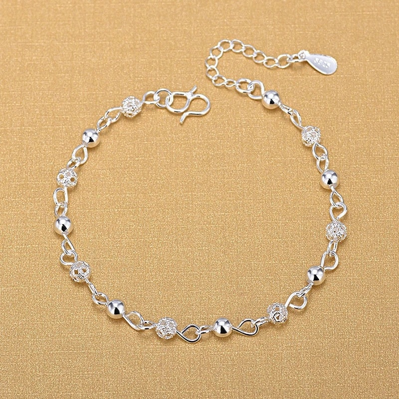Silver Anklets 925 Fashion Silver Jewelry Hollow Beads Anklet for Women Girls Friend Foot Barefoot L