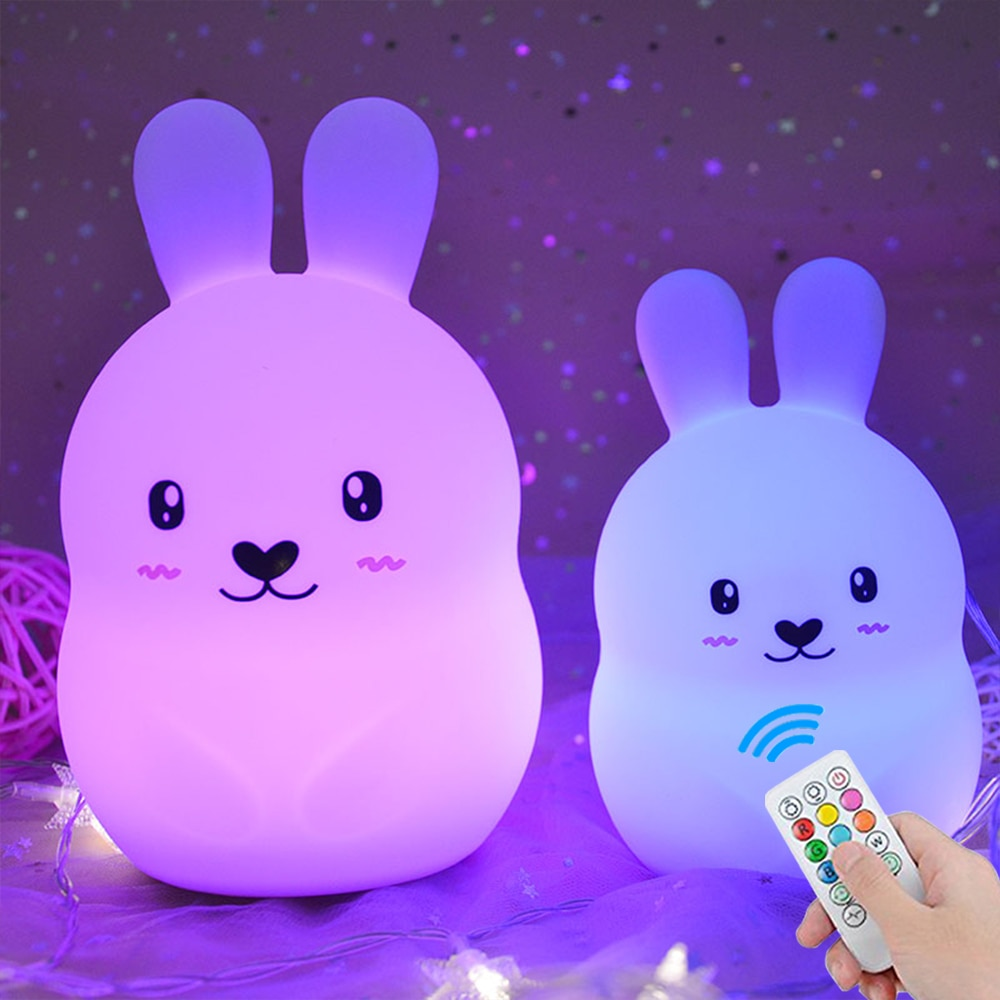 Cute Rabbit LED Night Light Touch Tap Remote Control RGB Dimmable Timer Rechargeable Silicone Bunny Lamp for Children Baby Gift