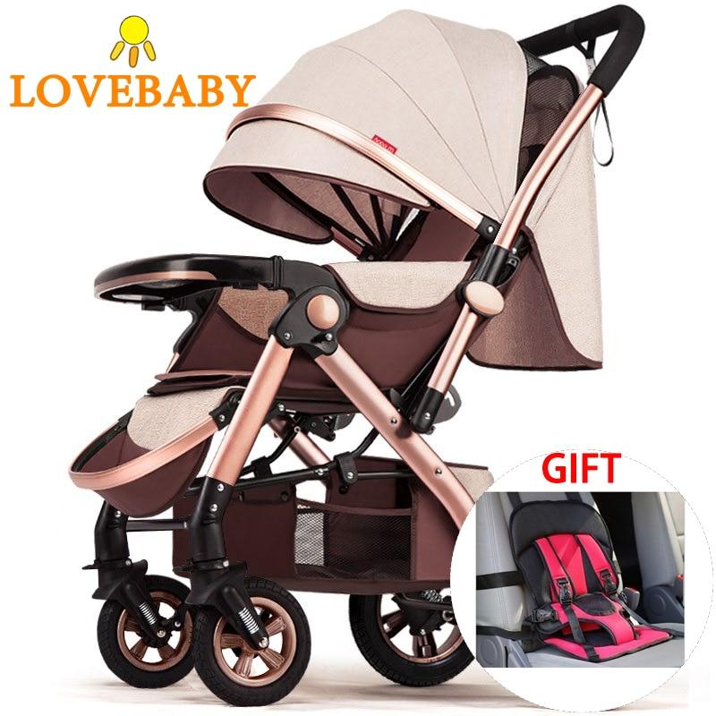 2019 2 em 1 carrinho de bebê leve com assento de carro sistema viagem barato 360 rotação carrinho de bebê paisagem alta vista pram
